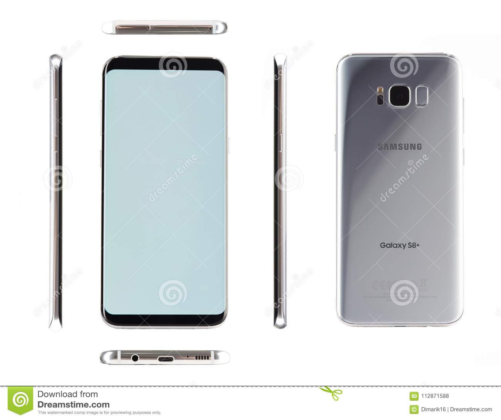 Distintas vistas de Samsung de plata s8 más