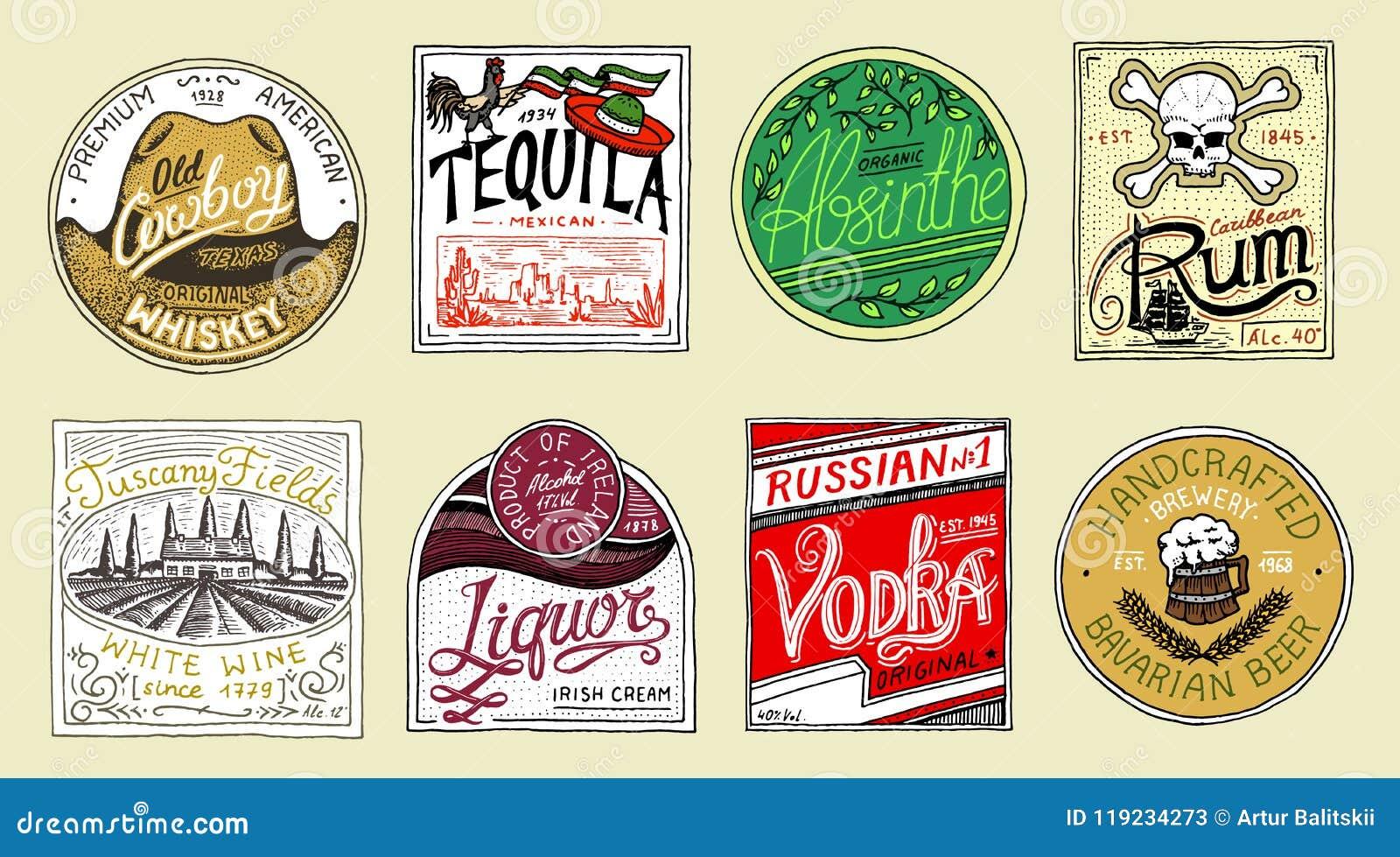 Distintivo americano d annata Birra del whiskey del vino del rum del liquore della vodka di tequila dell assenzio forte Etichetta