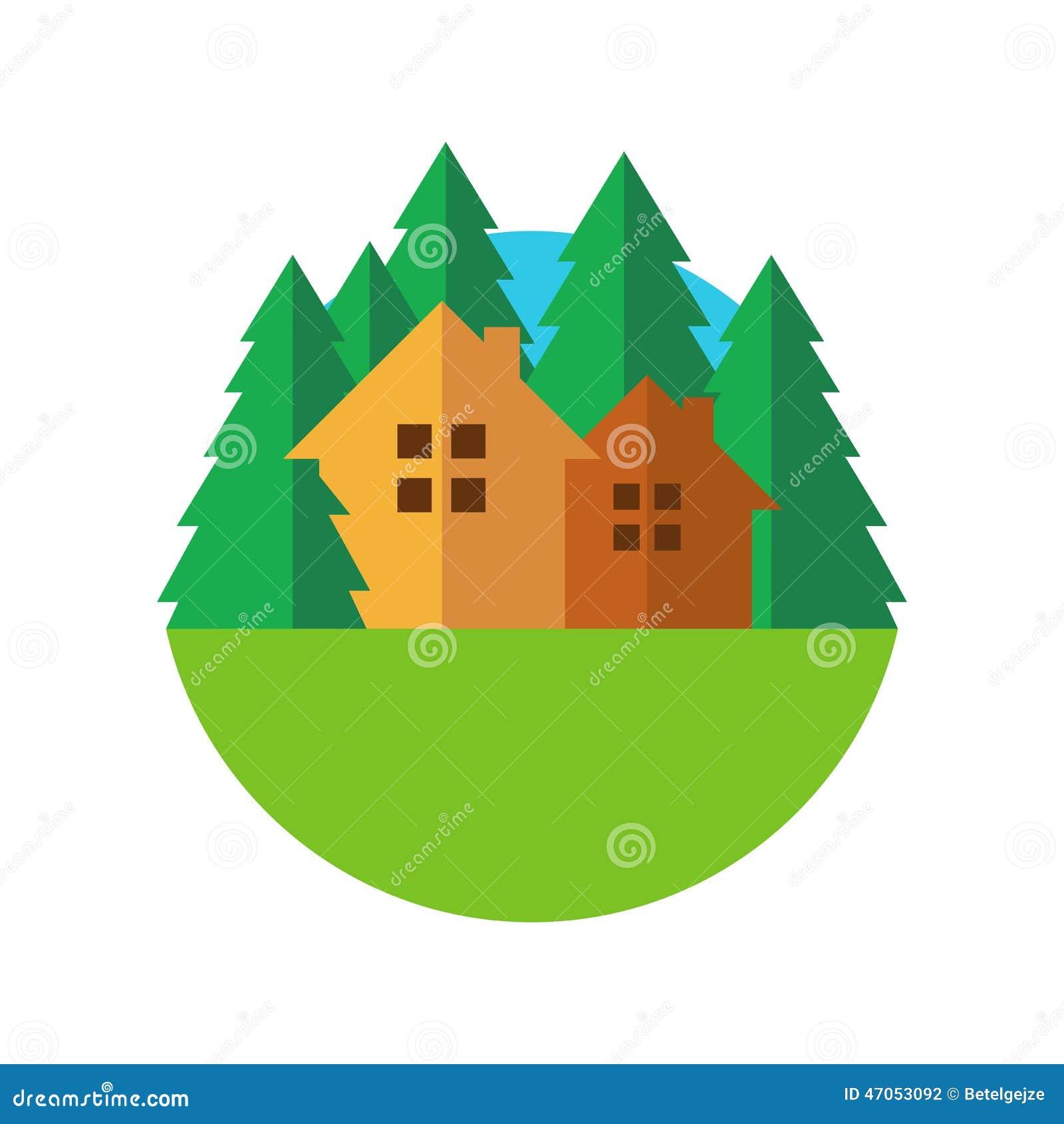 Distintivo piano della casa di eco di stile con gli alberi for Aprire piani casa concetto