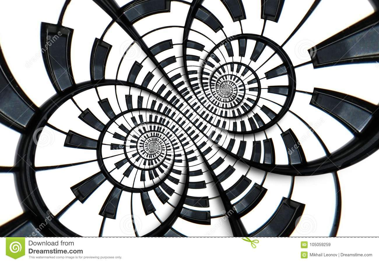 Distorted Piano keyboard music swirl abstract fractal spiral pattern background. Black and white piano round spiral. Spiral Piano