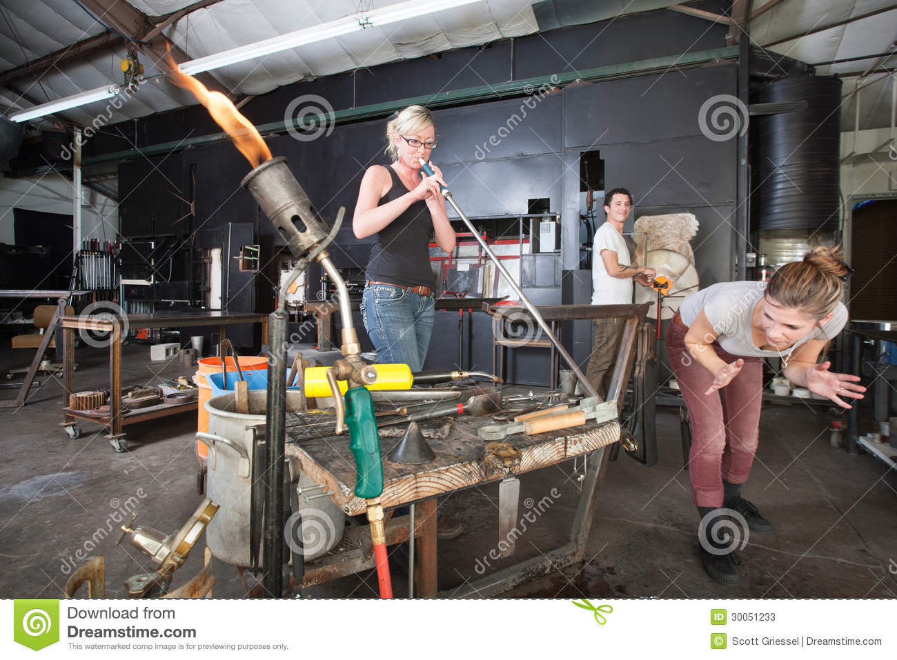 Distracted Glass Workers Stock Photos - Image: 30051233