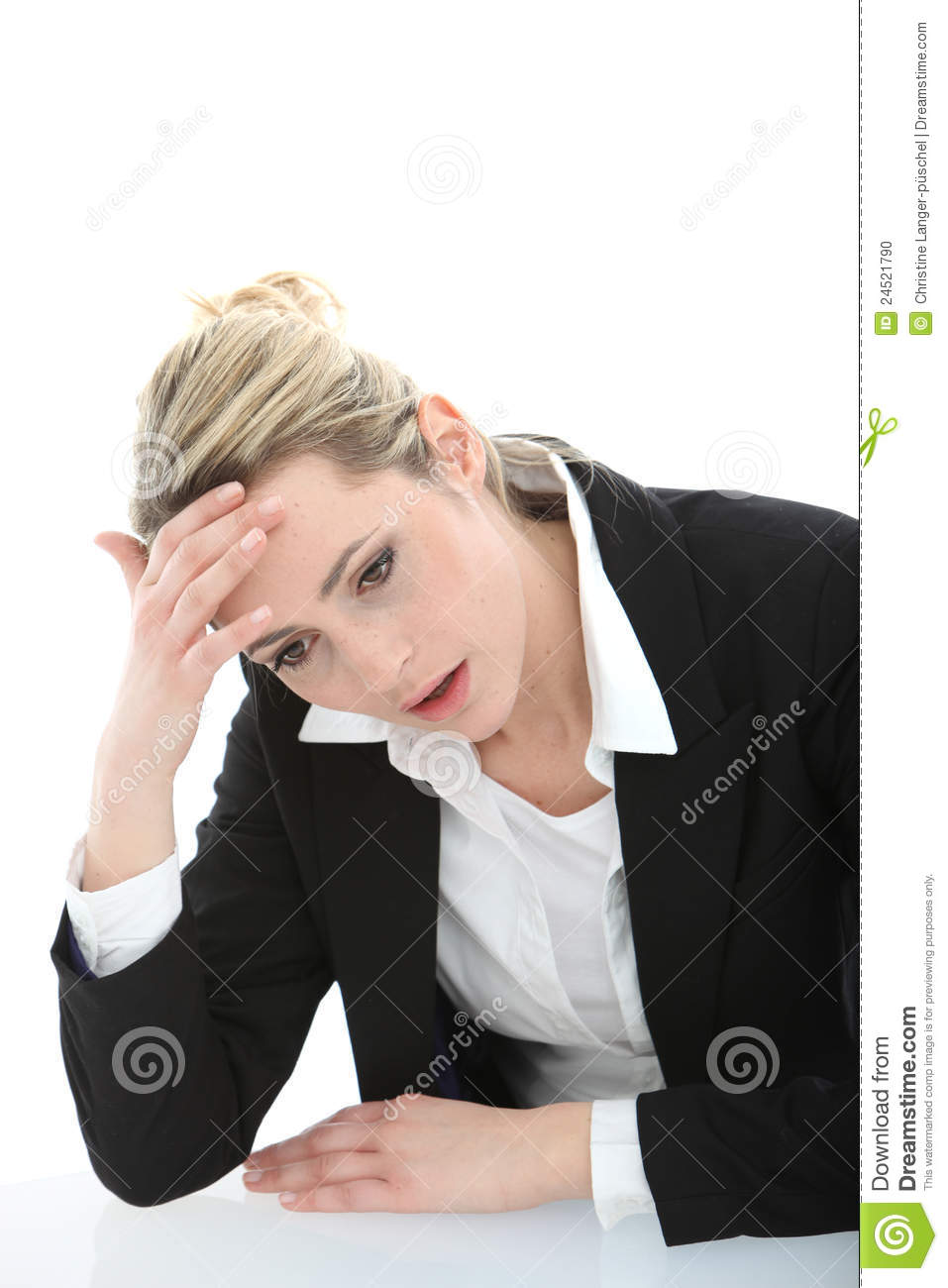 Distraught young businesswoman