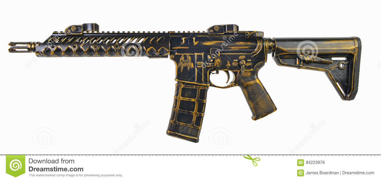 Distressed Black And Gold SBR AR15 With 30rd Mag Stock Photo - Image ...