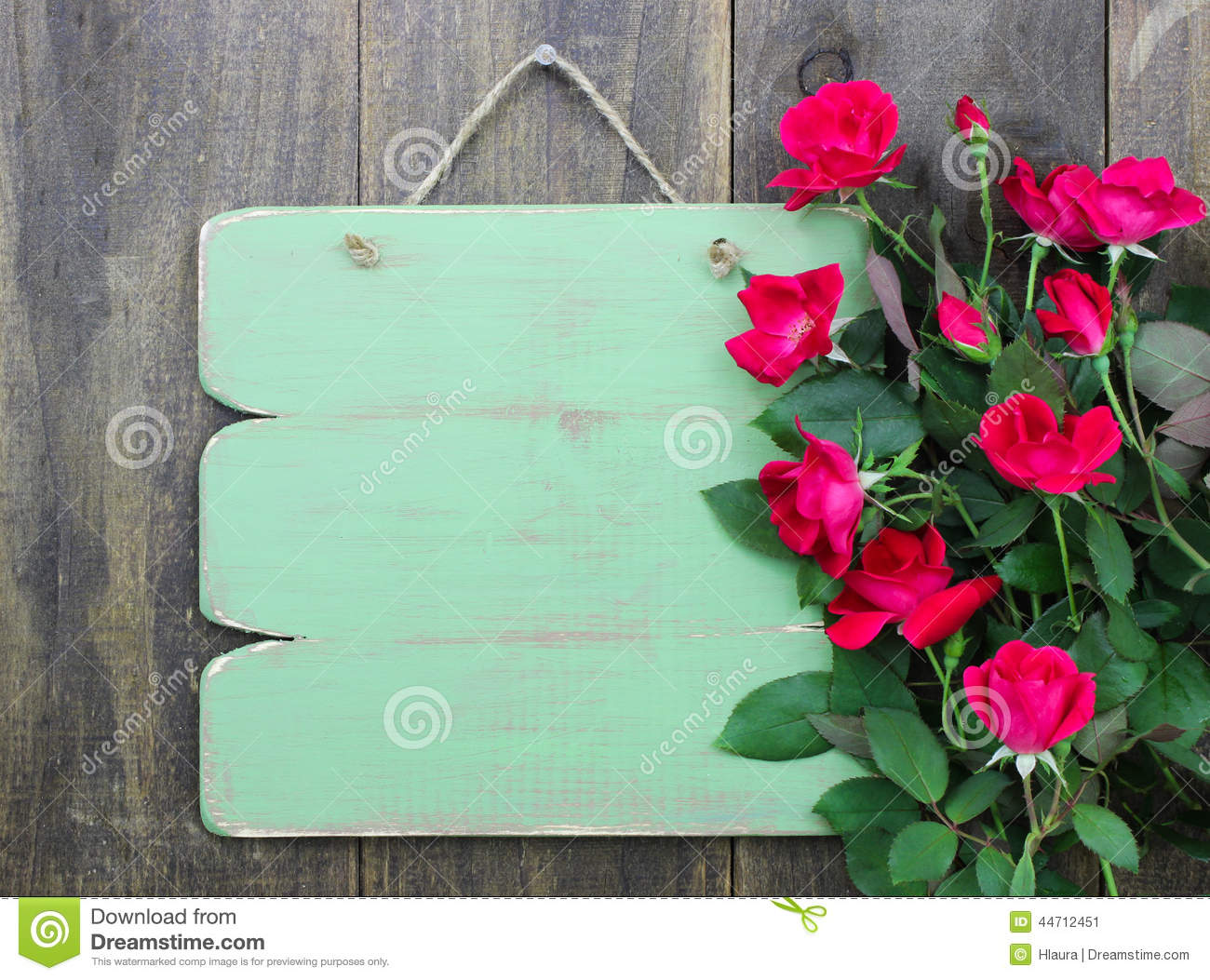 Distressed Blank Green Sign With Flower Border Of Red