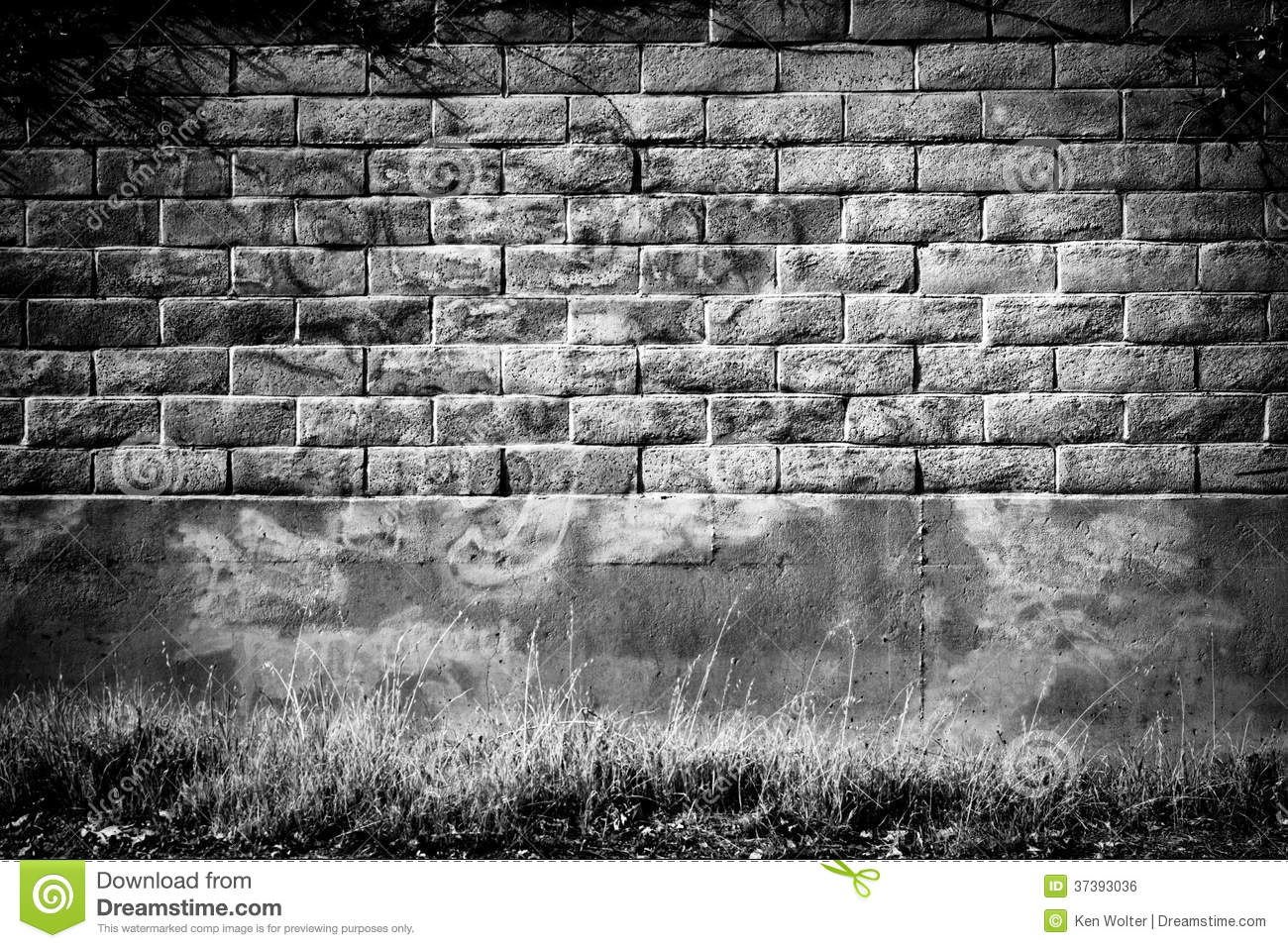 Distressed brick wall backdrop or background in infrared black and white