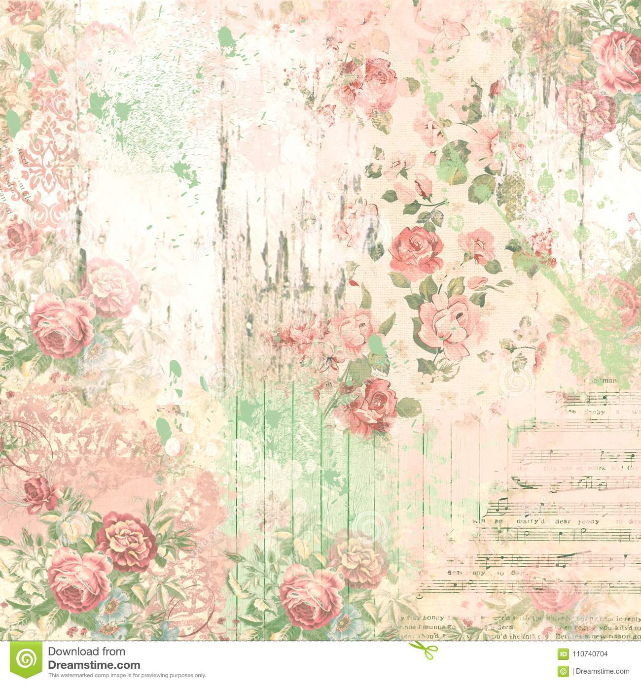 Vintage Collage Background - Scrapbook Paper Design - Mixed Media Stock -  Floral And Ephemera Stock Illustration - Illustration of lovely,  background: 110740704