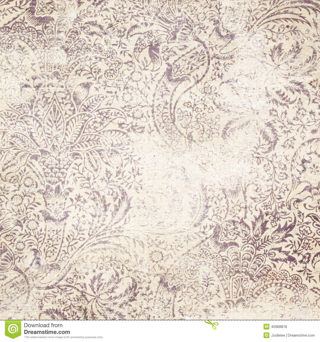 Distressed Floral Damask Background Stock Photo Image
