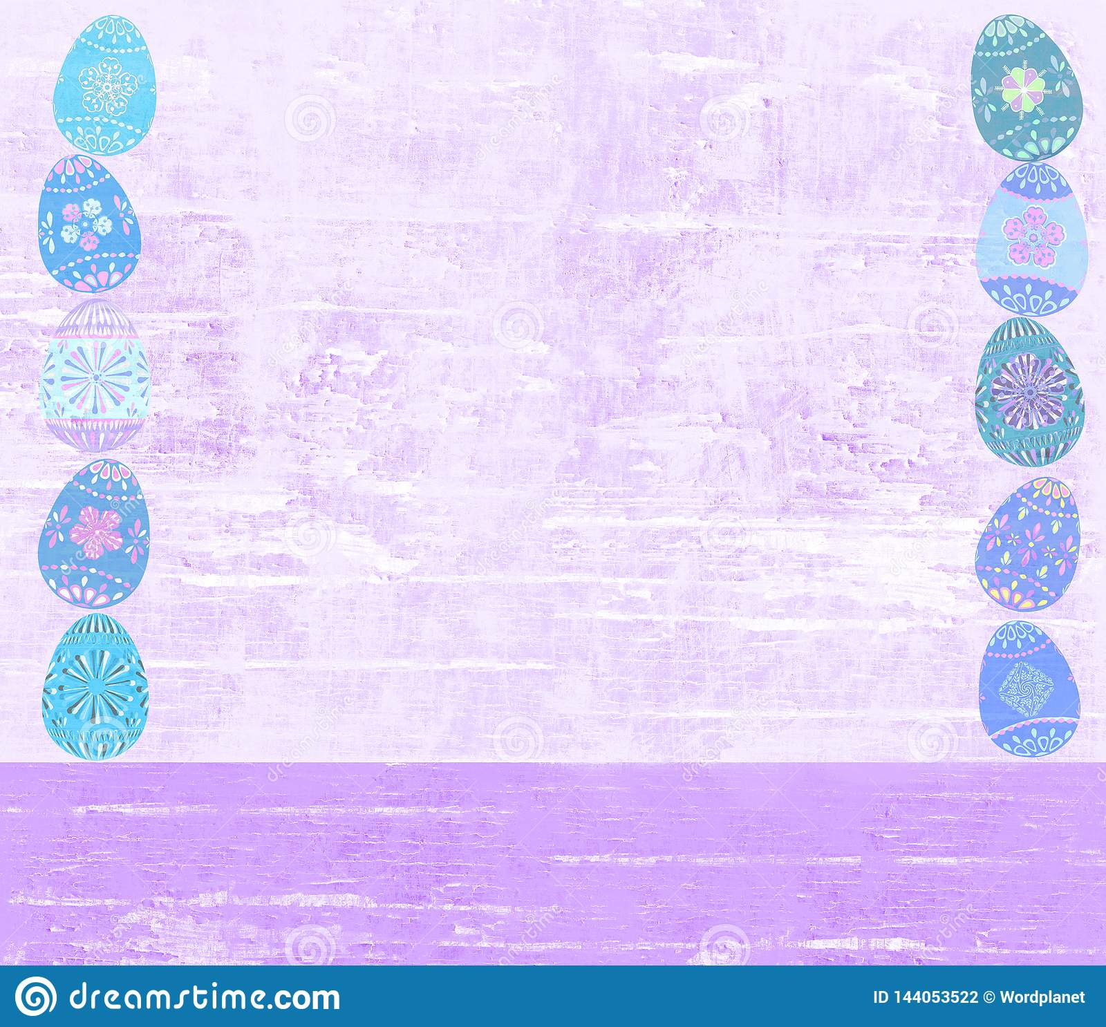 Distressed Easter egg and wood textured violet background