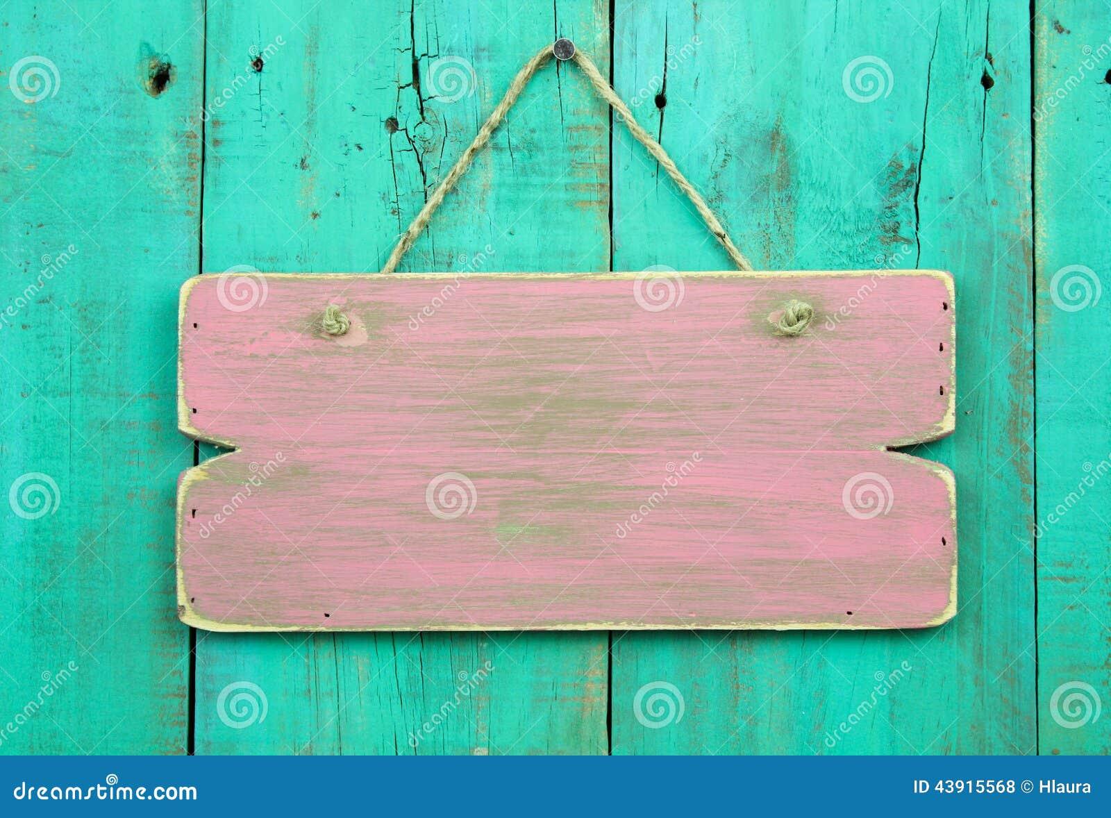 Distressed Pink Blank Sign Hanging On Antique Green Wooden Door ...