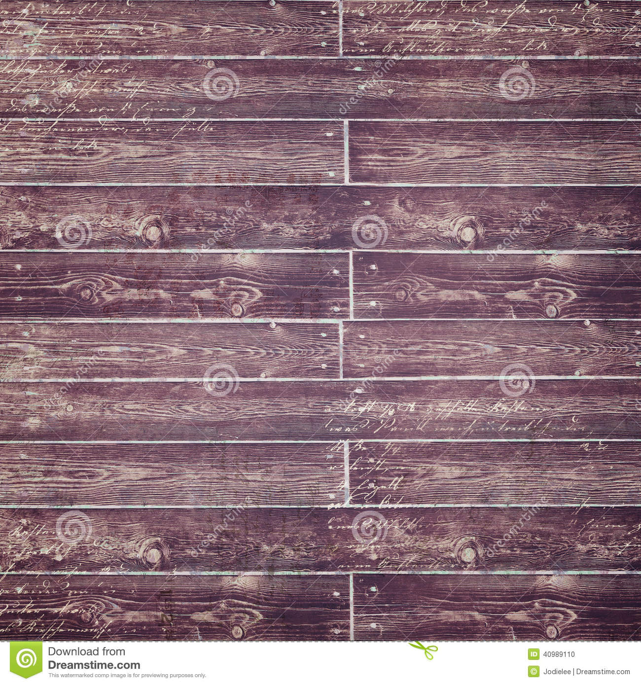 Distressed Purple Wood Fence With Script Stock Photo
