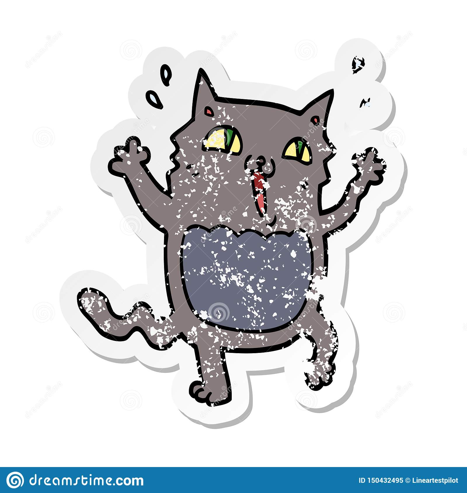 Distressed Sticker Of A Cartoon Crazy Excited Cat Stock