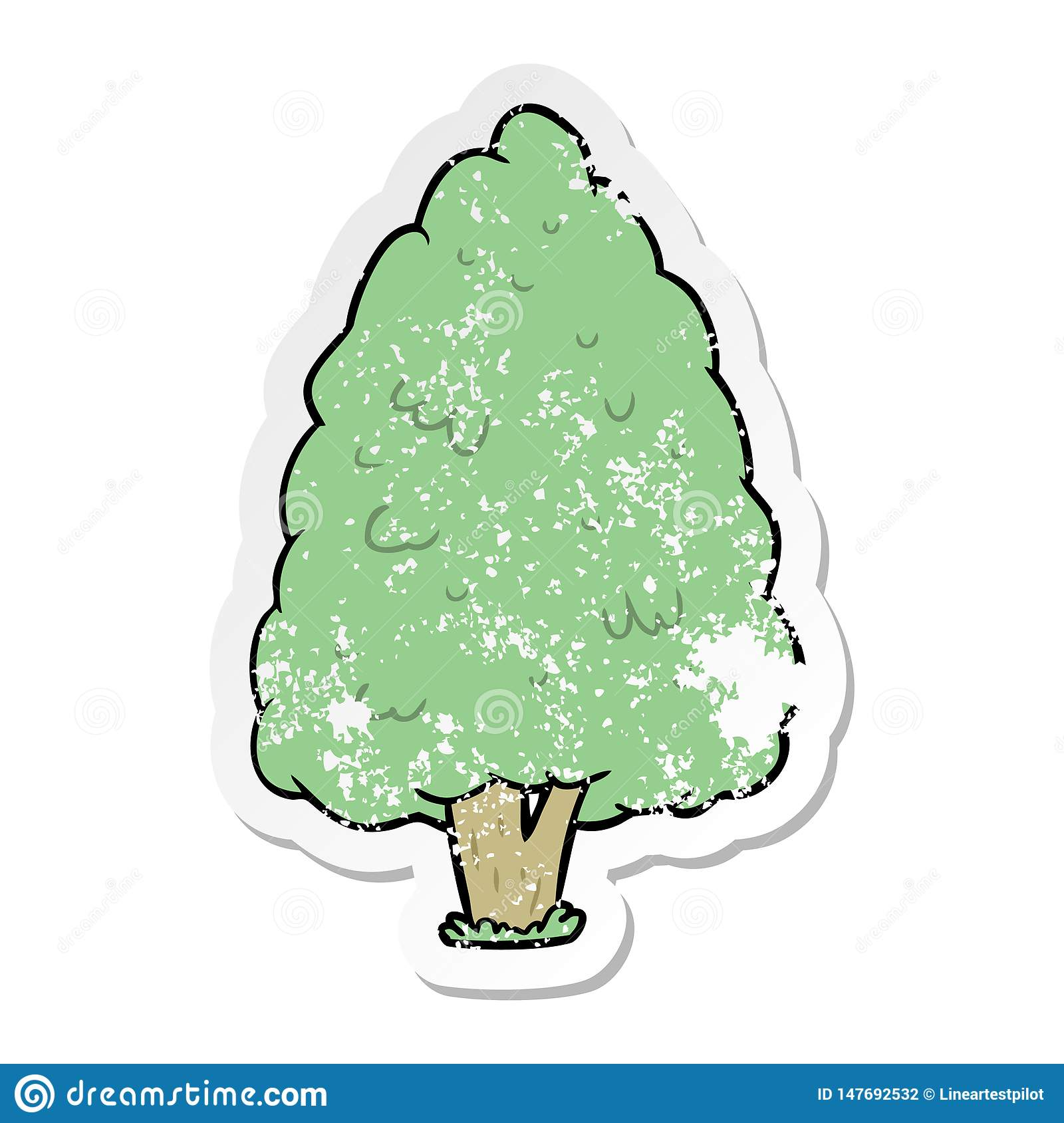 Distressed Sticker Of A Cartoon Tall Tree Stock Vector Illustration Of Realistic Doodle 147692532 Cartoon tree transparent images (6,688). dreamstime com