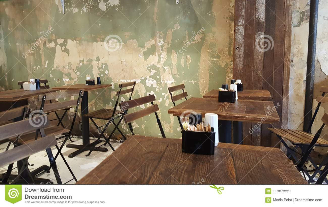 Distressed Wall Table No People Trattoria Stock Image - Image of
