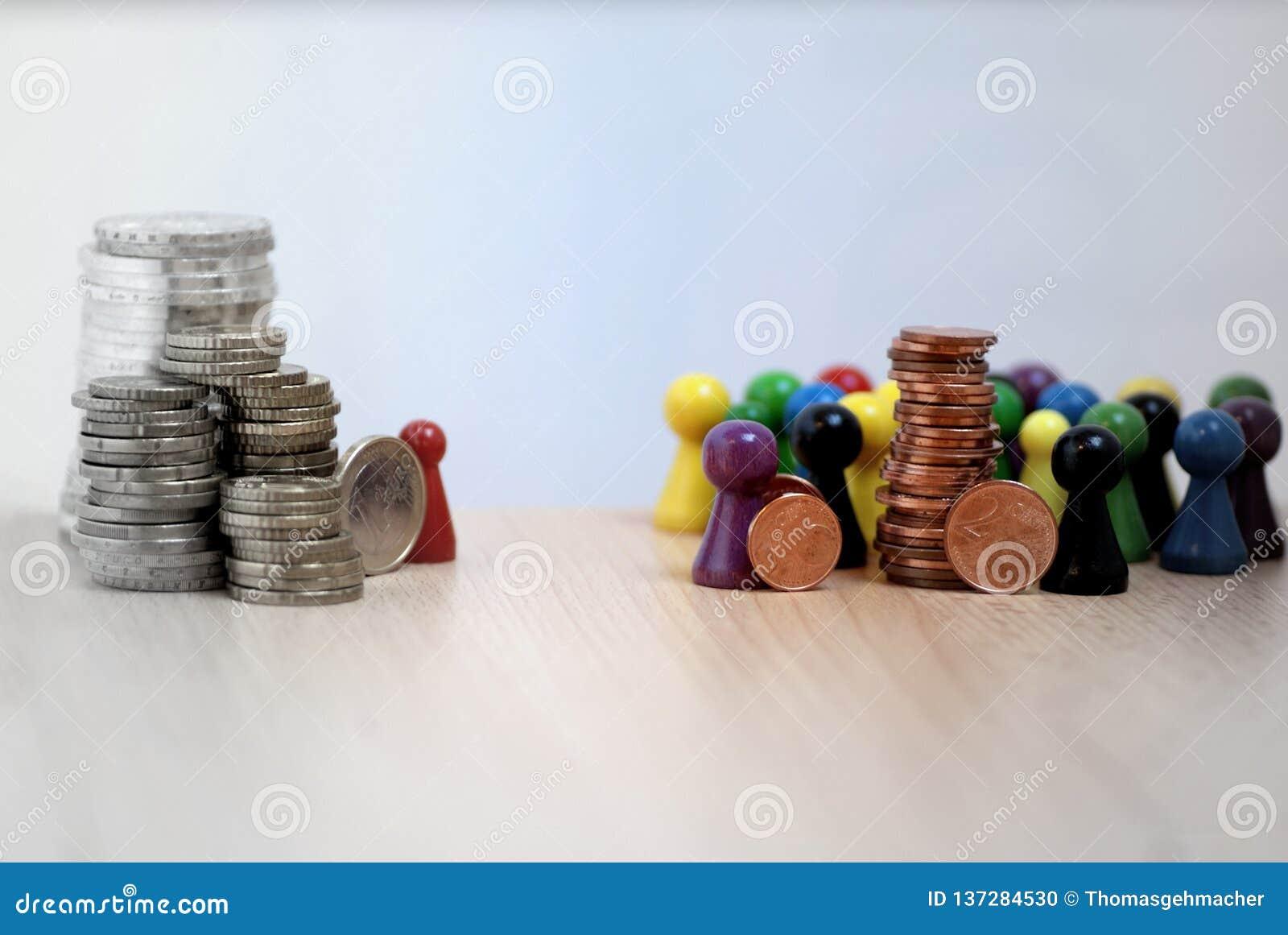 Distribución desigual del dinero en imagen juguetona del capitalismo