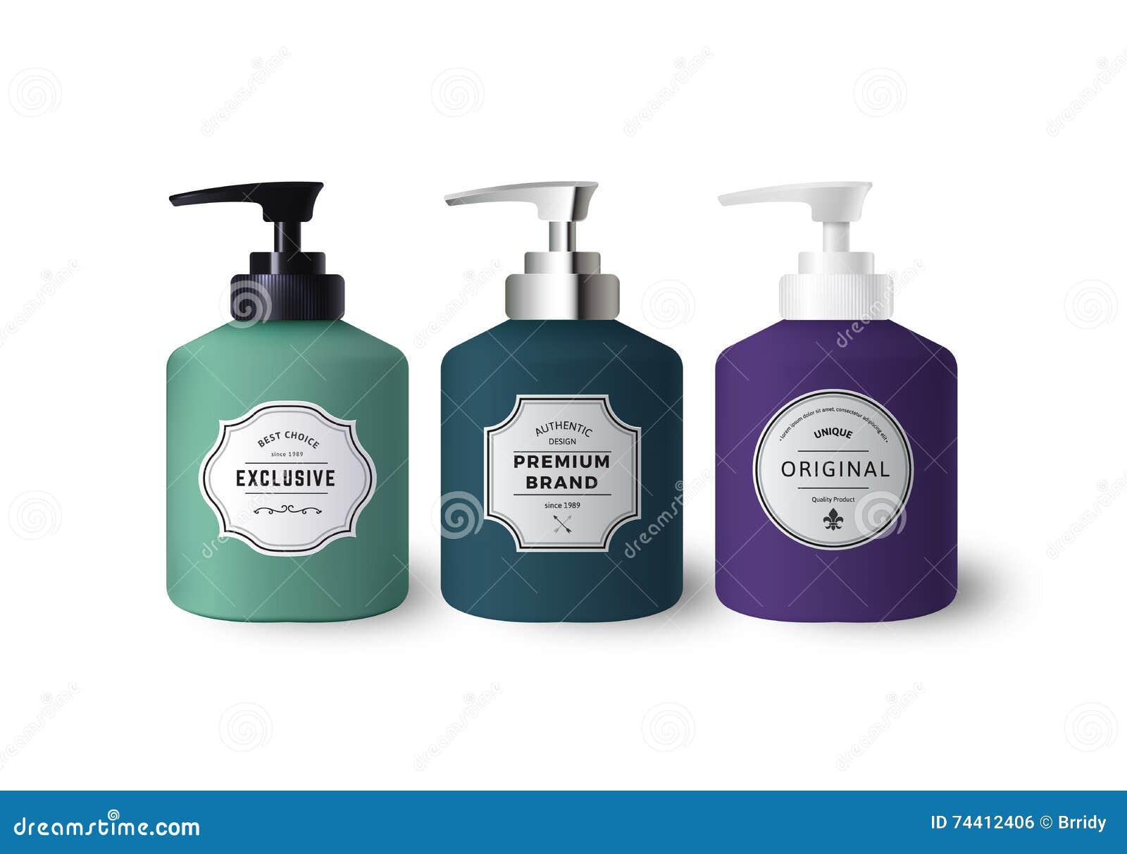 Distribuidores coloridos realísticos do sabão líquido
