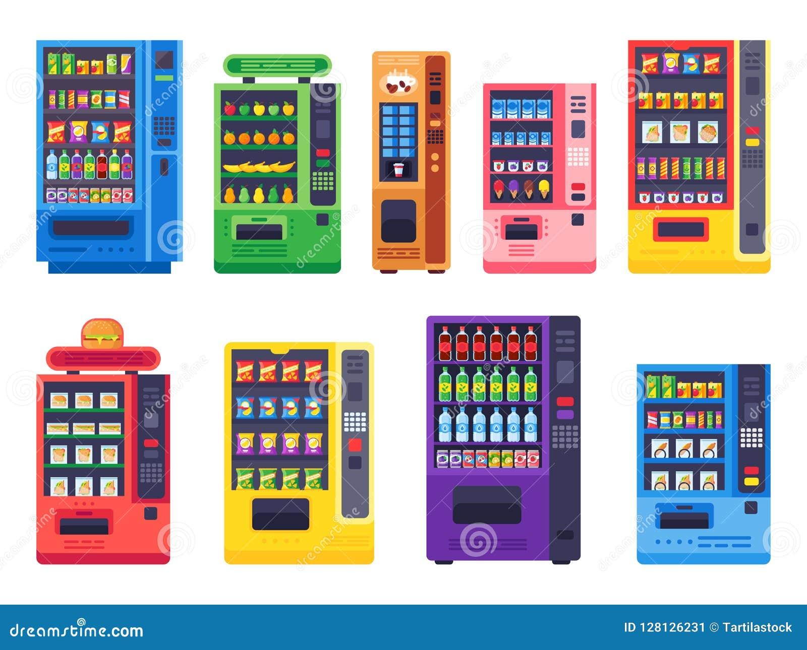 Distributeurs automatiques plats Casse-croûte, boissons glacées et ensemble d illustration de vecteur de machine de sucrerie