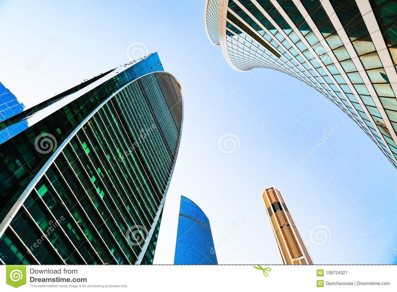 District of business centers. Glass skyscrapers facade. Moscow city, Russia. Street exterior. Modern office building. Urban view.