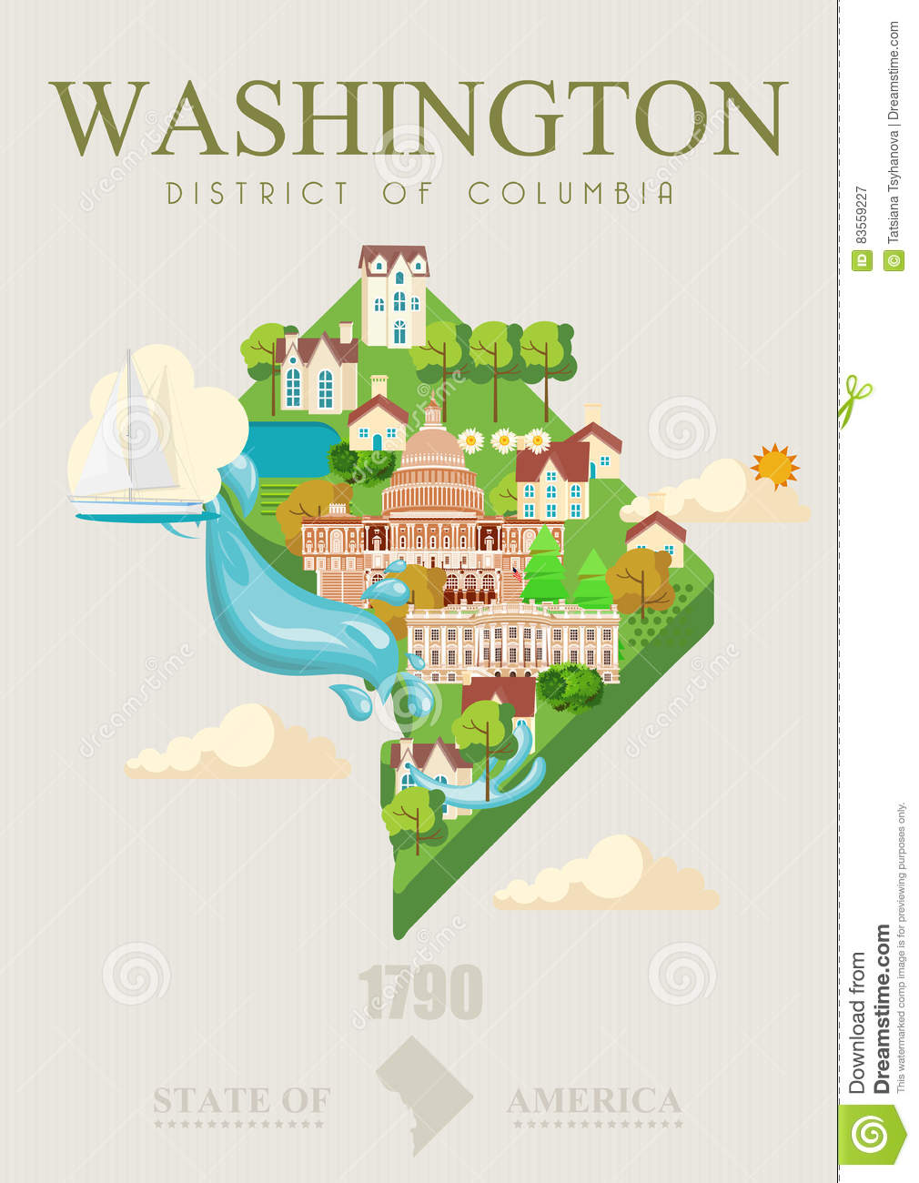District Of Columbia Vector Poster Usa Travel Illustration United
