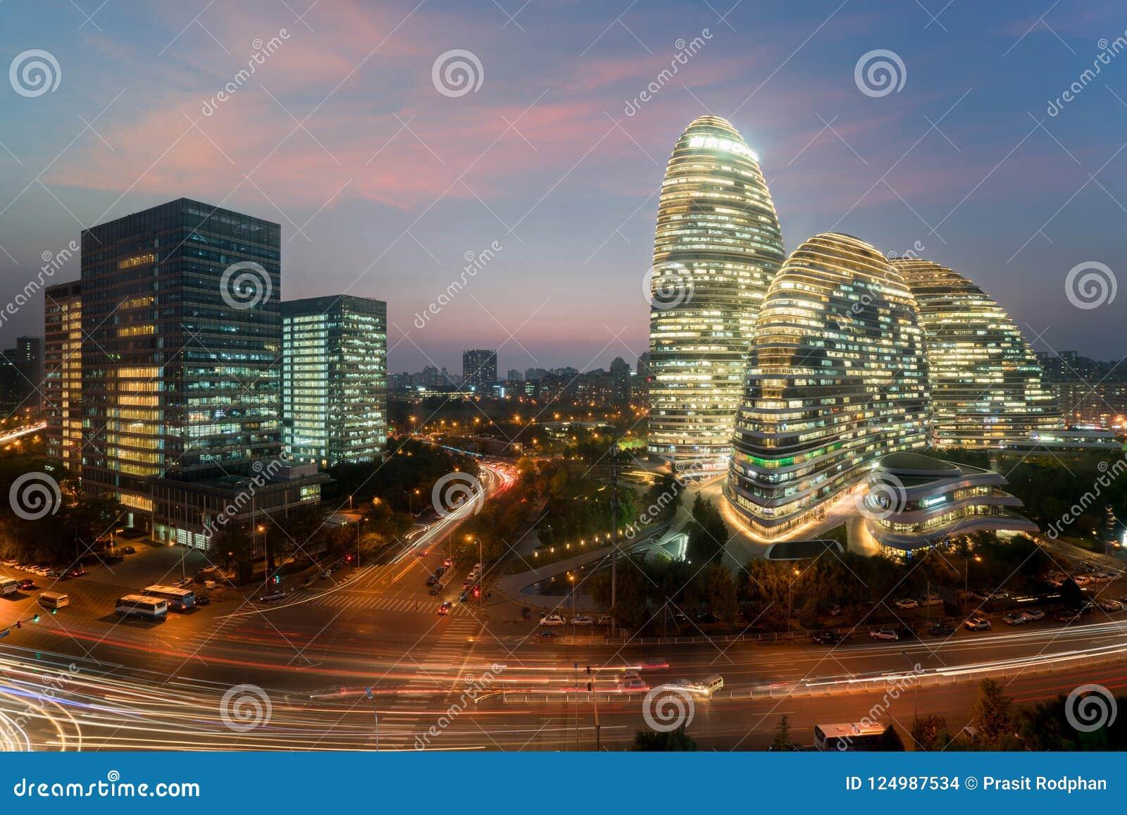 District des affaires de WangJing Soho la nuit dans Pékin, Chine