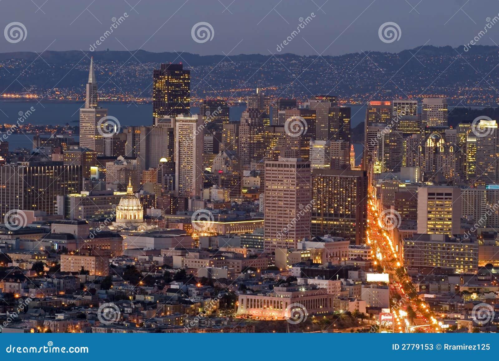 District dusk financial lights
