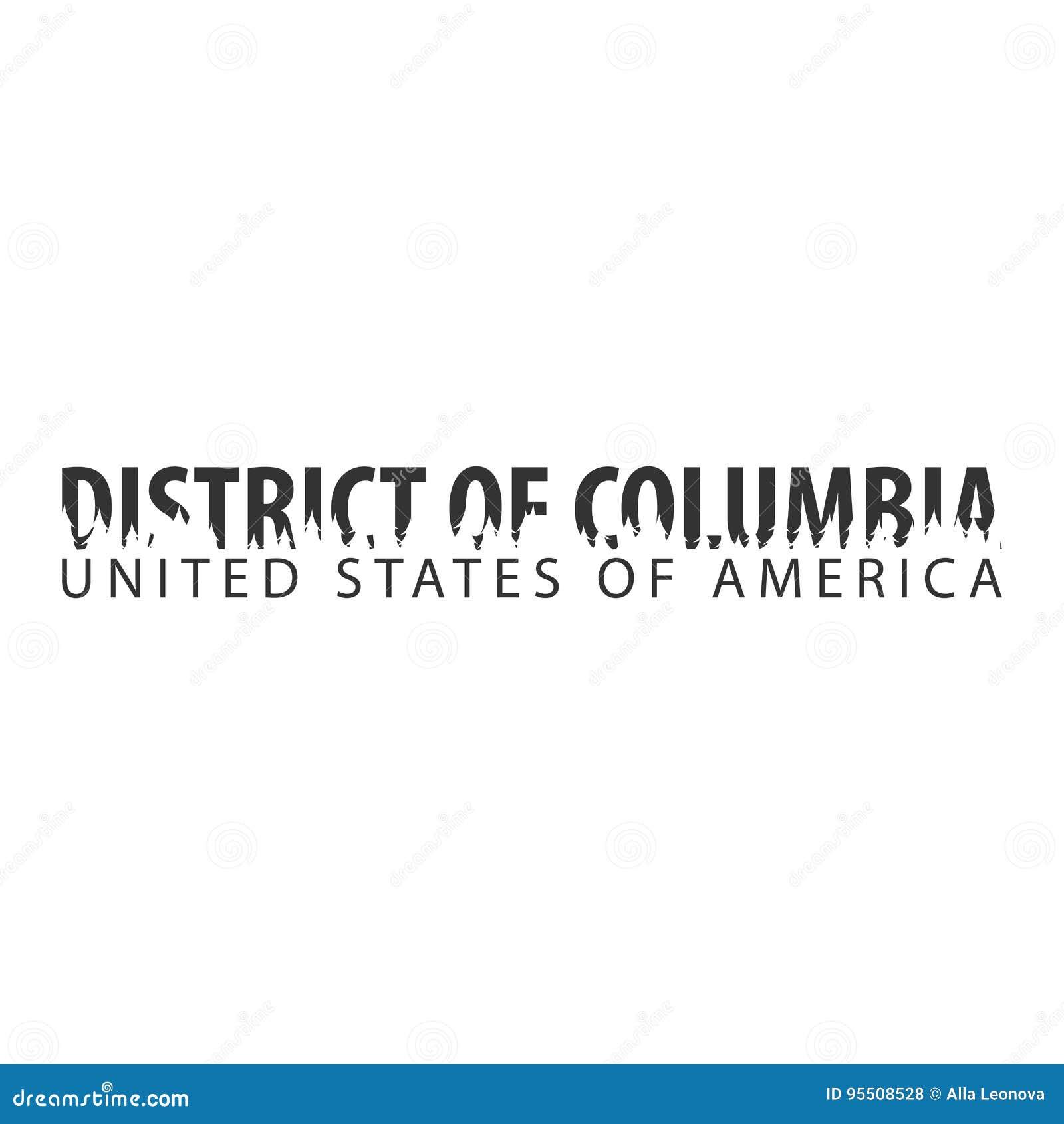 District van Colombia De V.S. De Verenigde Staten van Amerika Tekst of etiketten met silhouet van bos