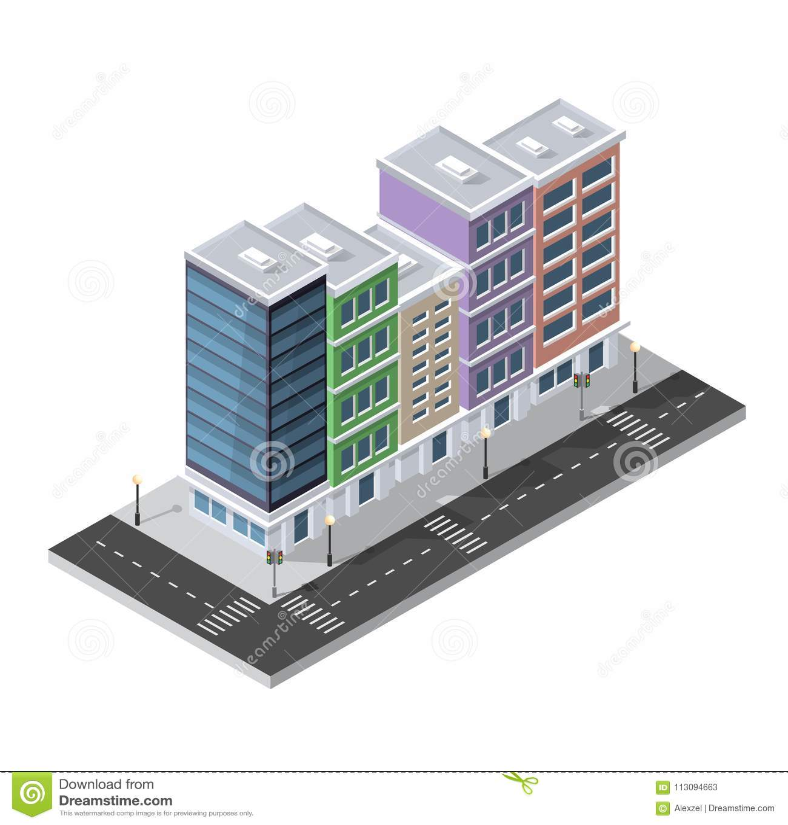 District van de huizen van de stadsstraat