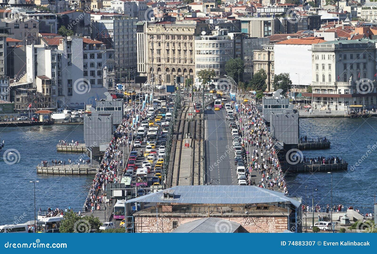 Distrito da ponte e do Karakoy de Galata na cidade de Istambul
