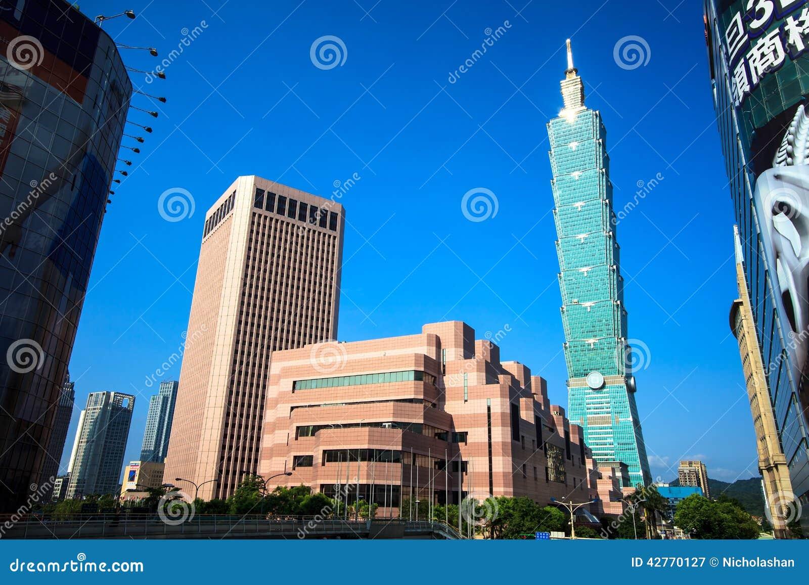 Distrito de Xinyi e arranha-céus de Taipei 101