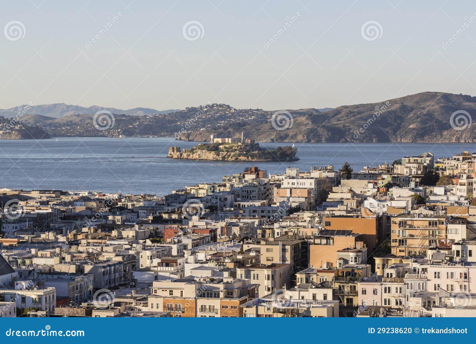 Download Distrito Do Porto De San Francisco E Ilha De Alcatraz Foto de Stock - Imagem de parque, tarde: 29238620