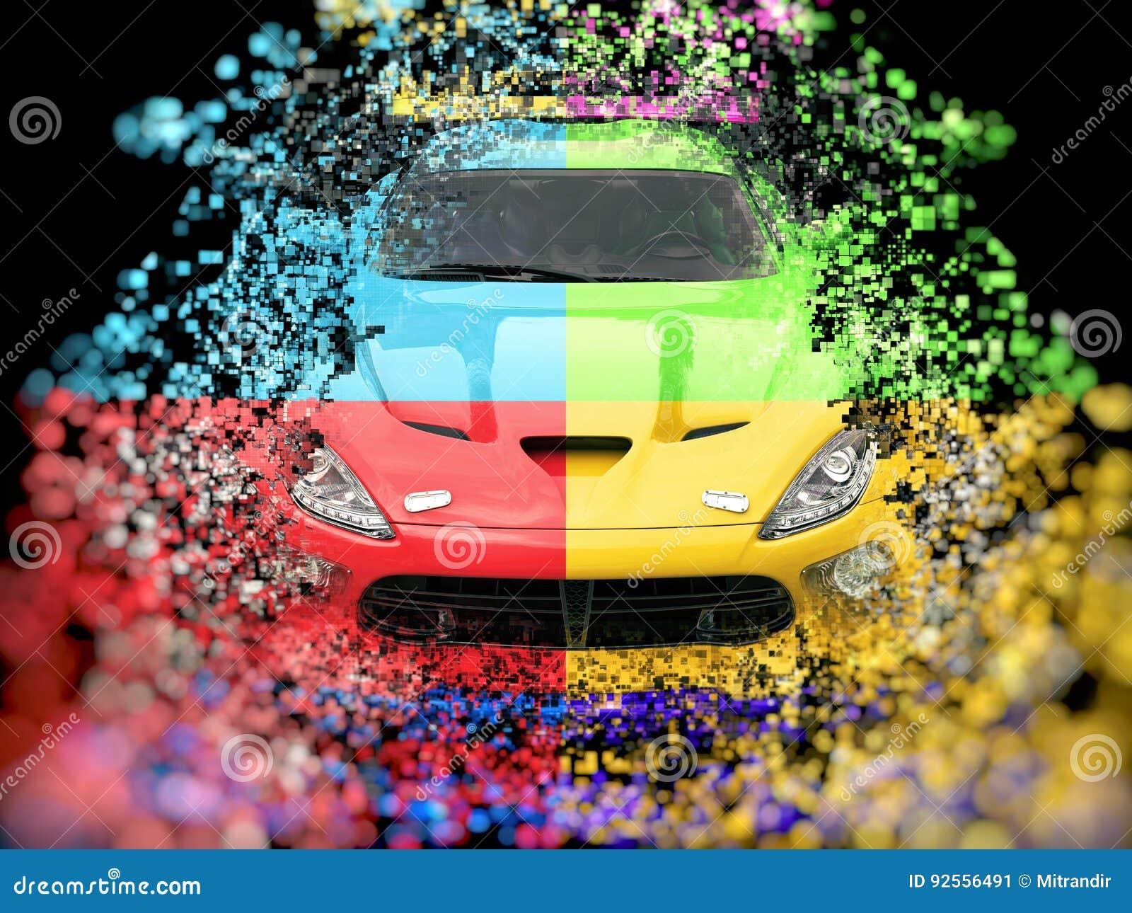 Distruzione astratta automobilistica del pixel di quattro sport di colore