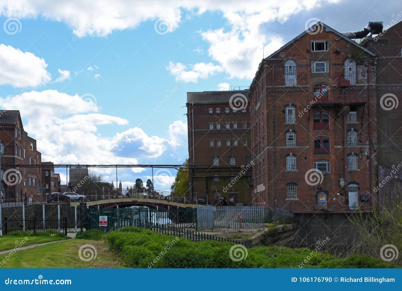Disused Healing`s Flour Mill, Tewkesbury, Gloucestershire, UK Stock