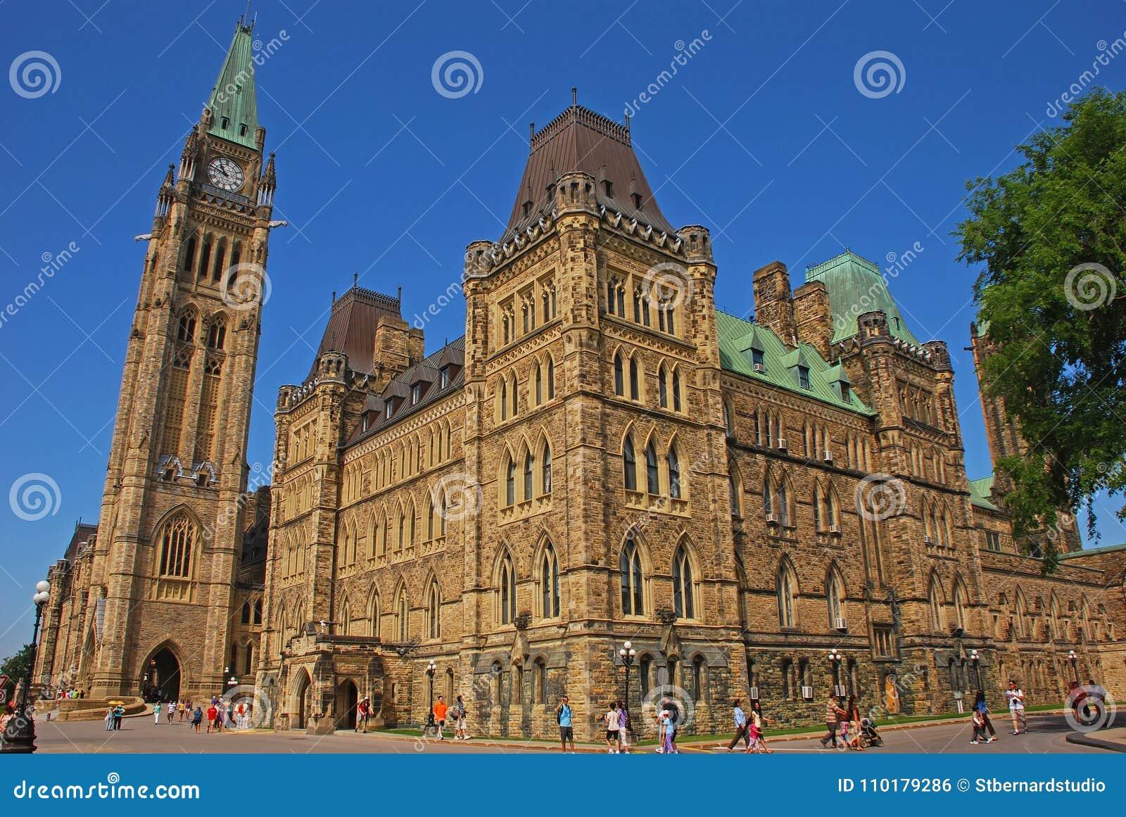 Dit is Centrumblok dat het hoofdgebouw van Canadese parlementaire complex op het Parlement Heuvel, Ottawa, Ontario, Canada is