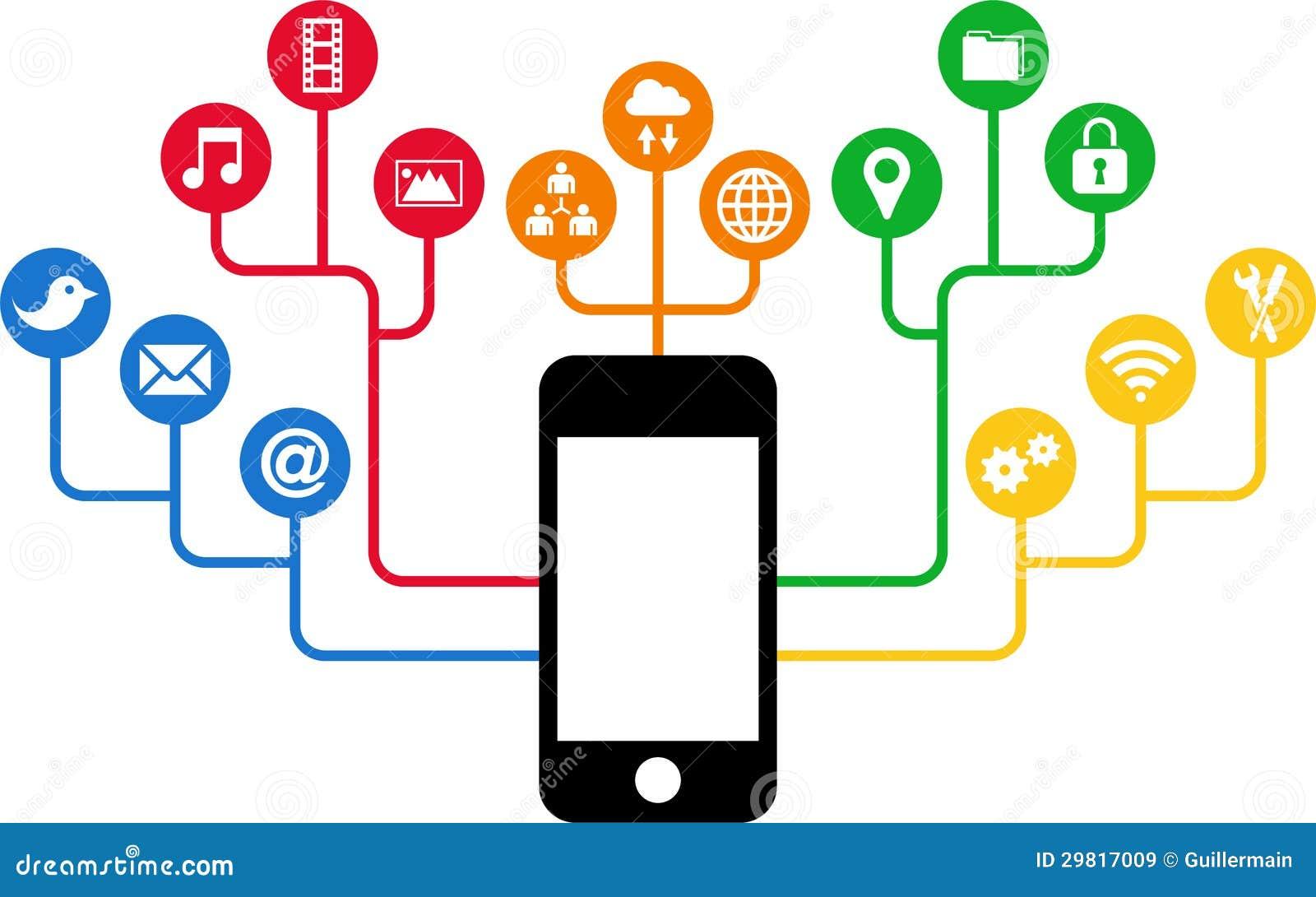 Smartphone & de Sociale pictogrammen van Media, mededeling in de mondiale computernetten