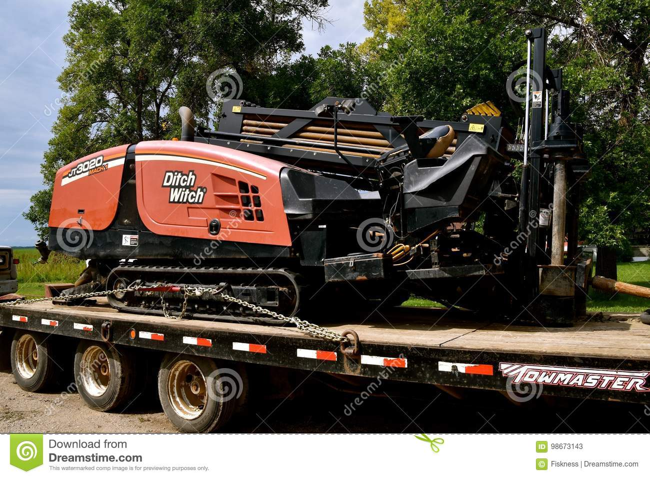 Ditch Witch Trencher Loader On A Flat Bed Trailer Editorial Stock