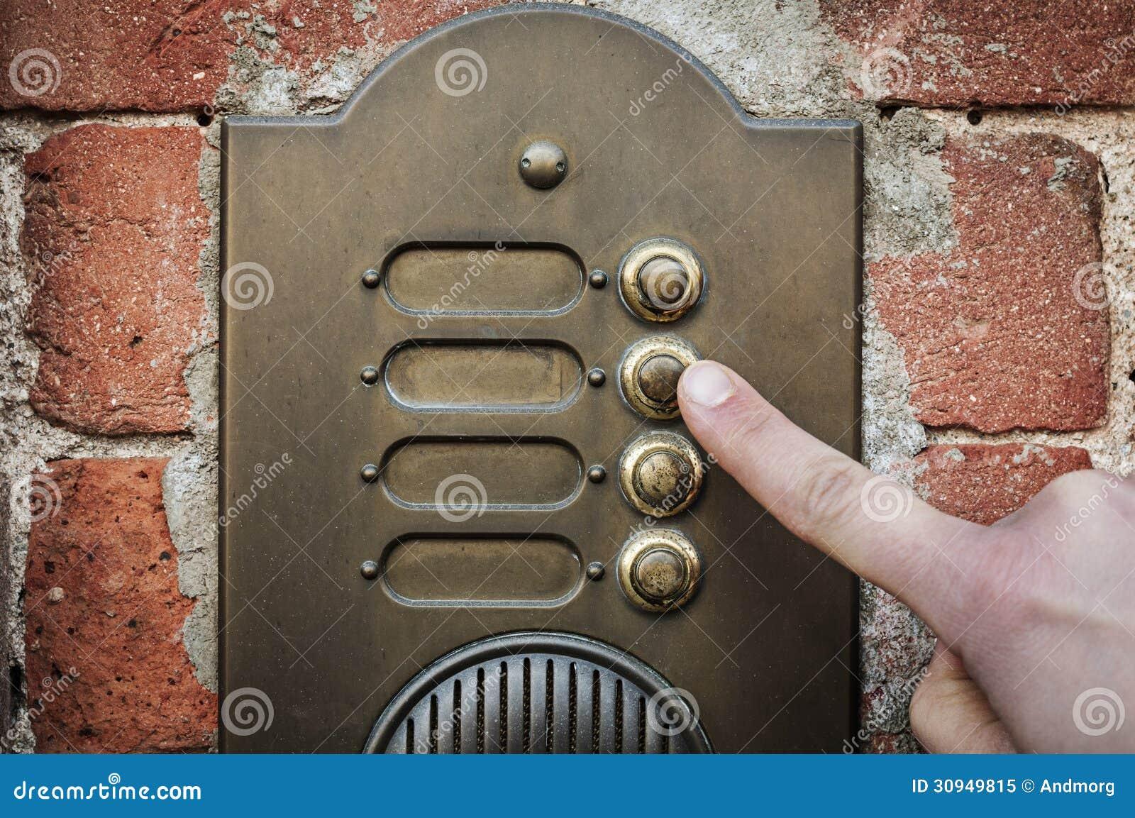 Schema Elettrico Per Un Campanello : Dito che suona un campanello per porte immagine stock