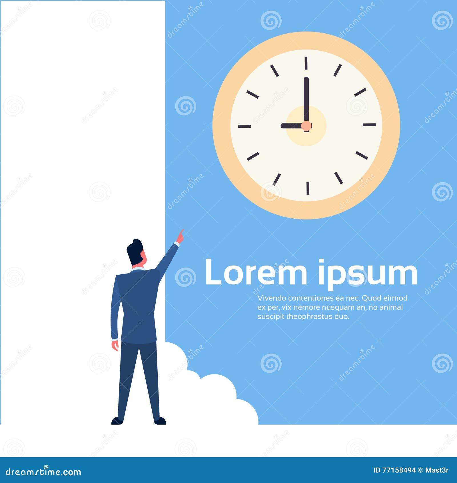 Dito del punto dell uomo di affari al concetto di termine della gestione di tempo dell orologio