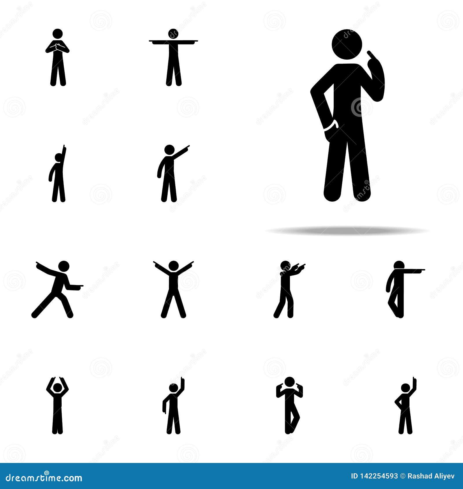 Dito dell uomo, egli stesso icona Uomo che indica l insieme universale delle icone del dito per il web ed il cellulare