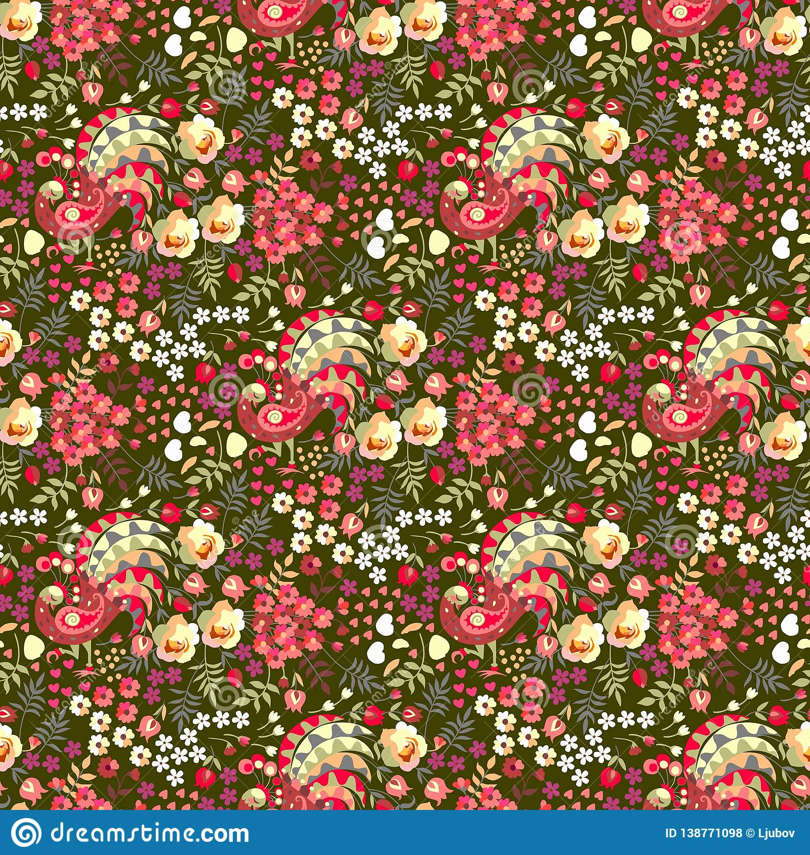 Ditsy floral seamless pattern in russian style. Cute fairy peacocks, leaves, roses, tulips flowers on dark green background