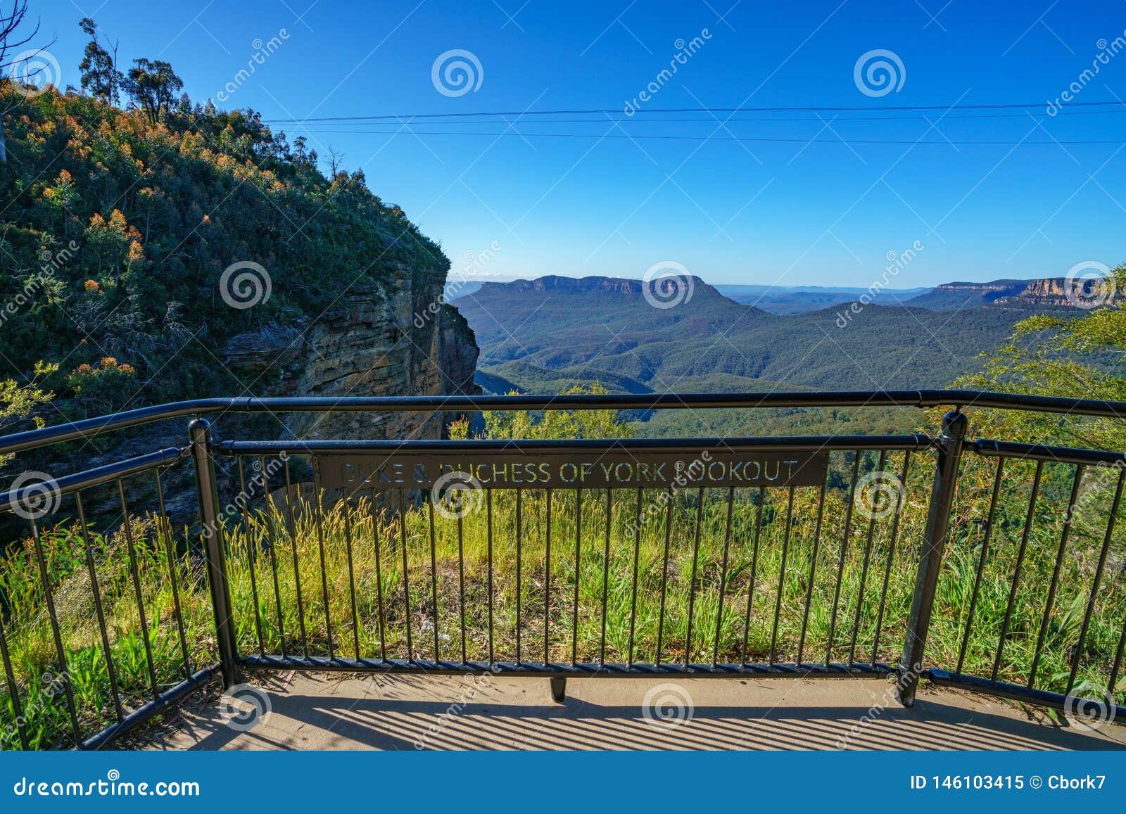 Diuk i duchess York punkt obserwacyjny, błękitne góry park narodowy, Australia