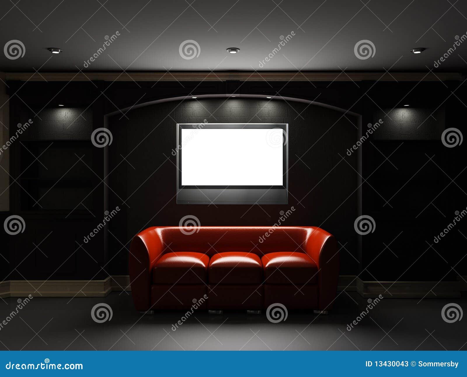 Diván y estante para libros de cuero rojos con LCD TV