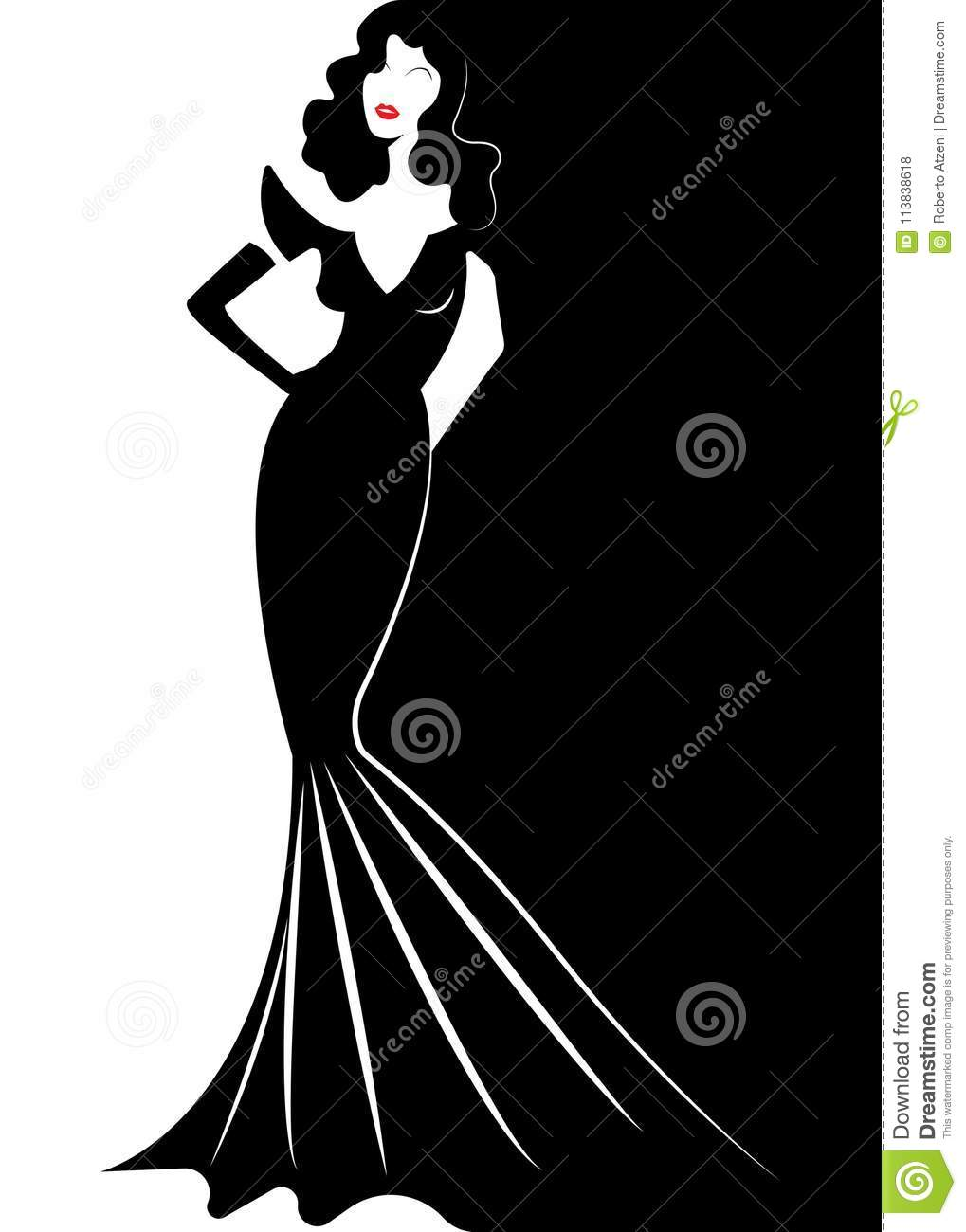 Diva Hollywood Silhouette Beautiful Retro Fashion Woman In Red