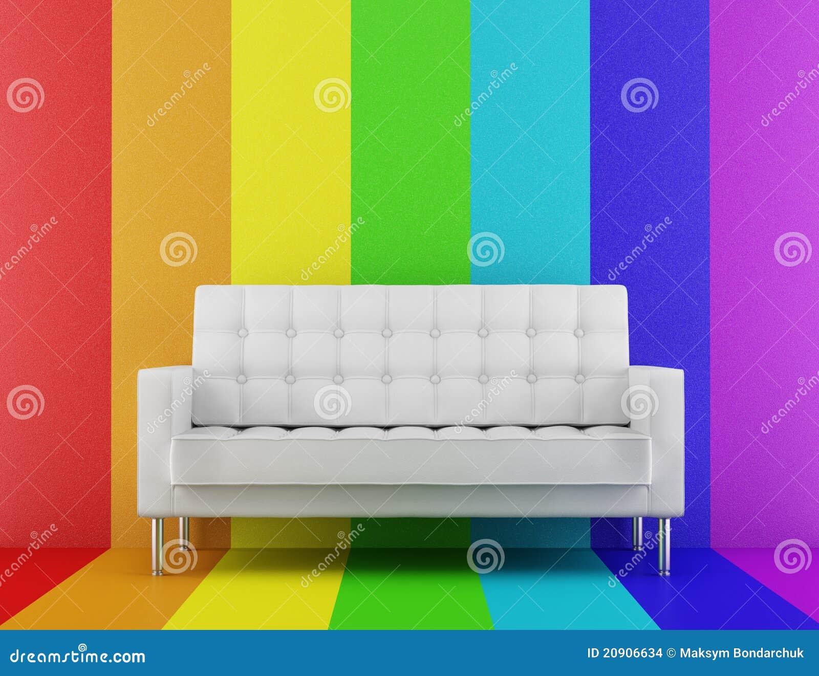 divan blanc devant le mur multicolore images stock image 20906634. Black Bedroom Furniture Sets. Home Design Ideas