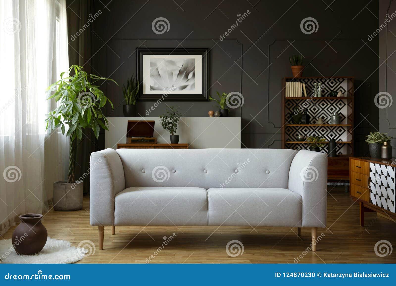 Divan gris dans l intérieur de salon de vintage avec le placard, l affiche et l usine en bois Photo réelle
