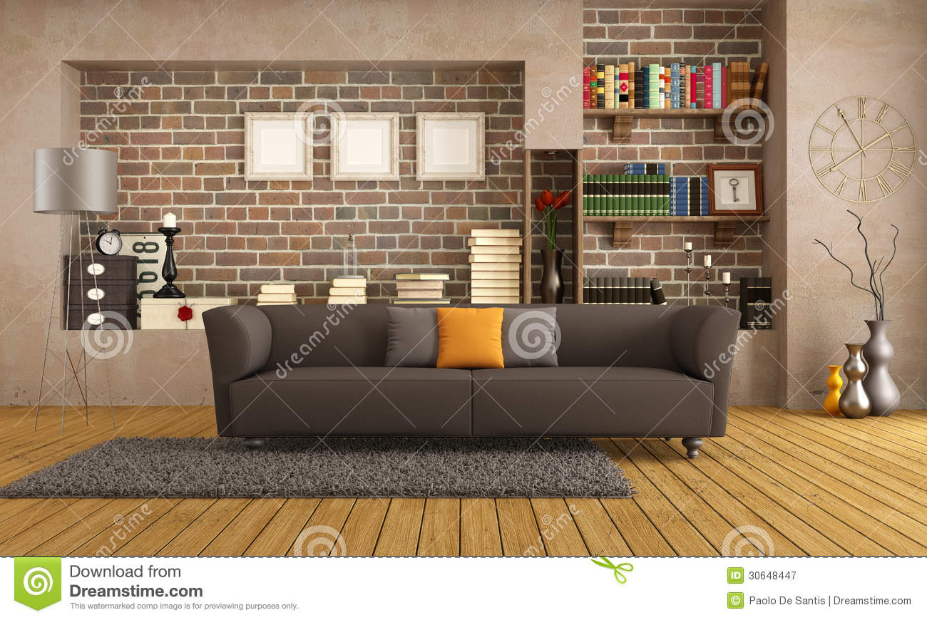 divan moderne dans un salon de vintage illustration stock illustration du salon parquet 30648447. Black Bedroom Furniture Sets. Home Design Ideas