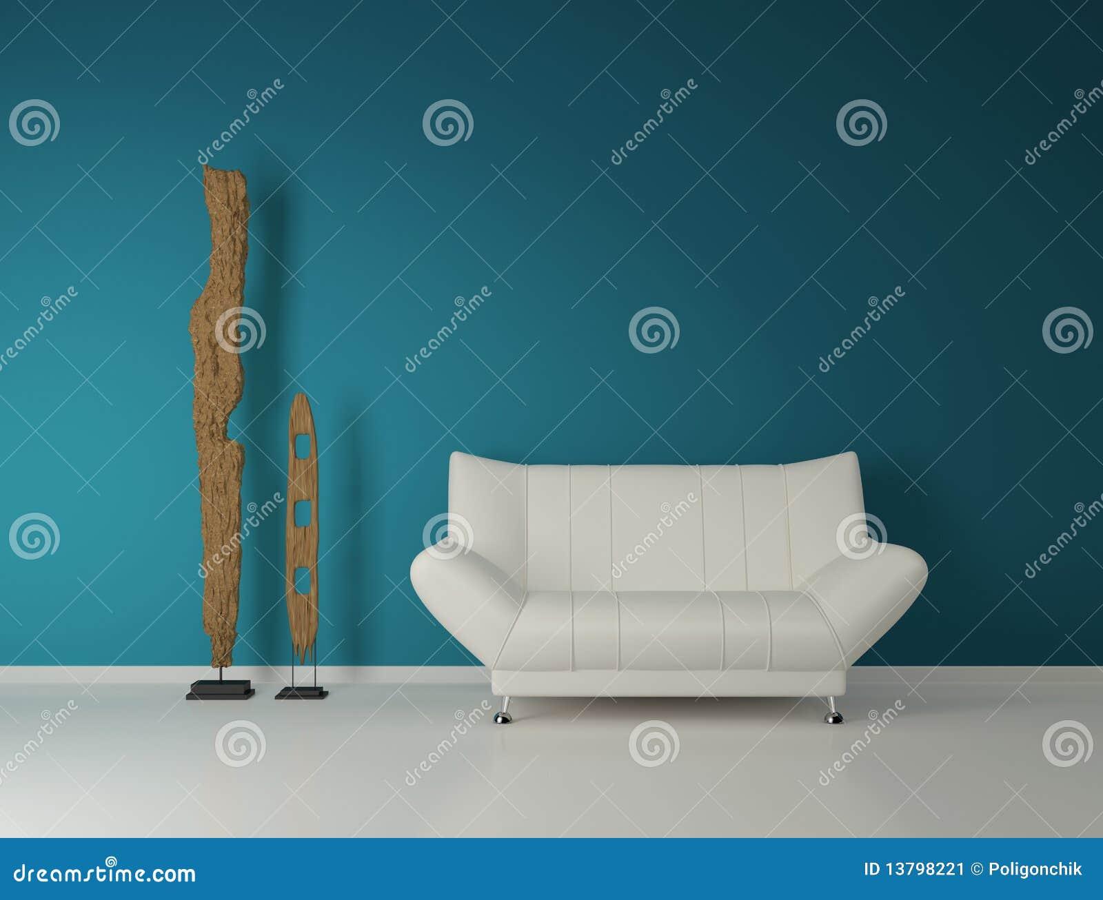 divan moderne et deux statues abstraites image stock. Black Bedroom Furniture Sets. Home Design Ideas