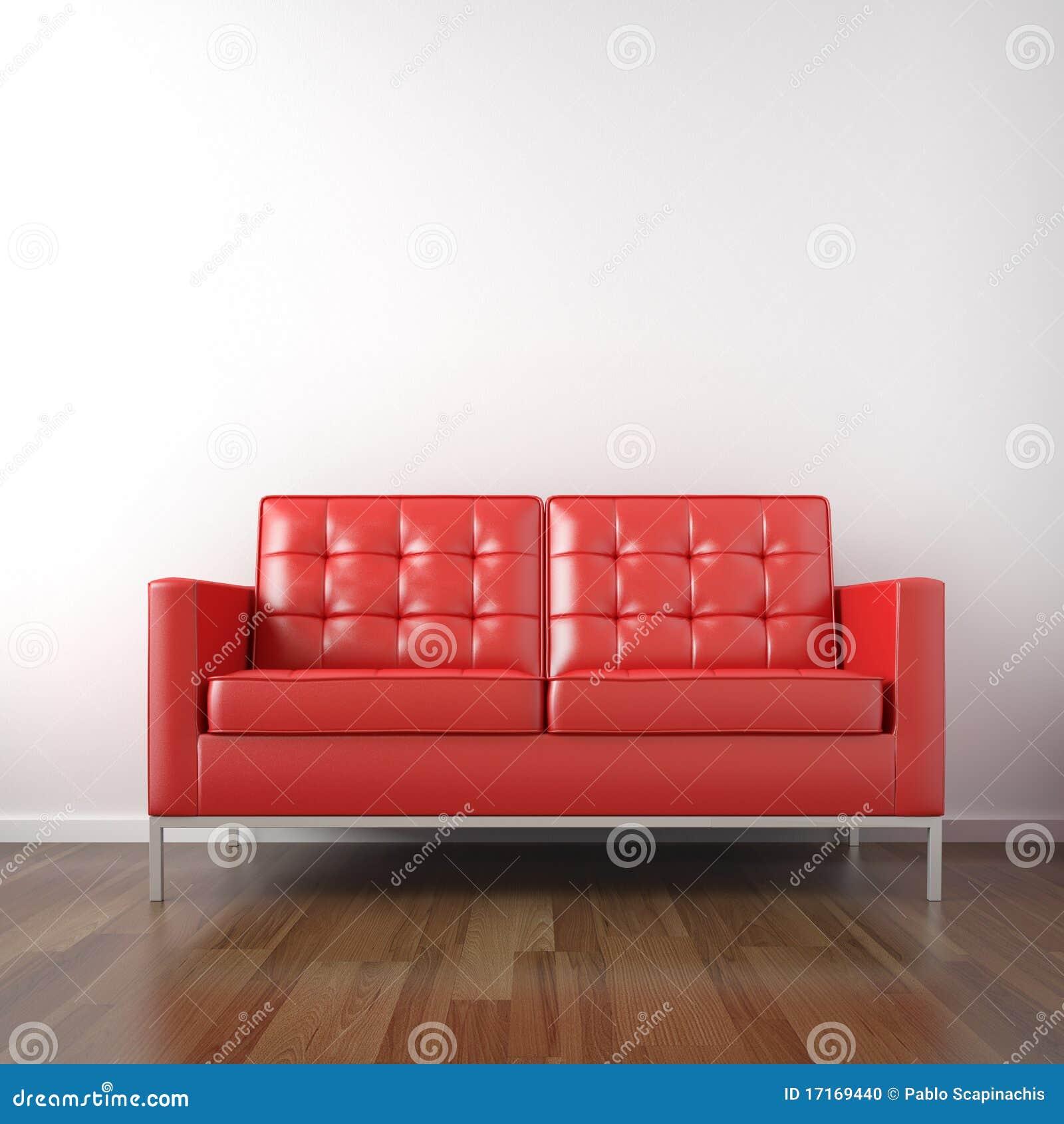 Divan rouge dans la chambre blanche photo stock   image: 17169440