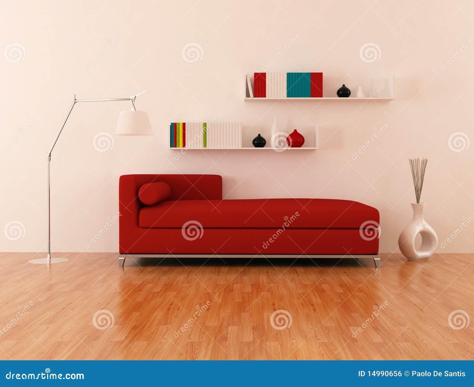 divan rouge dans le salon moderne image libre de droits. Black Bedroom Furniture Sets. Home Design Ideas