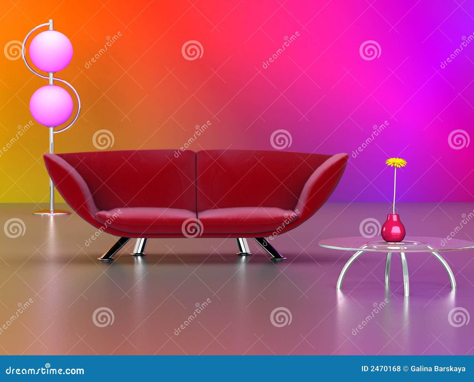 divan rouge moderne photo stock image du rose maison. Black Bedroom Furniture Sets. Home Design Ideas