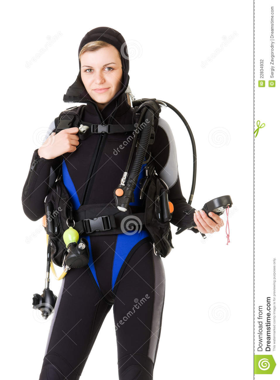 Before dive stock photo image of underwater young black for Scuba dive equipment