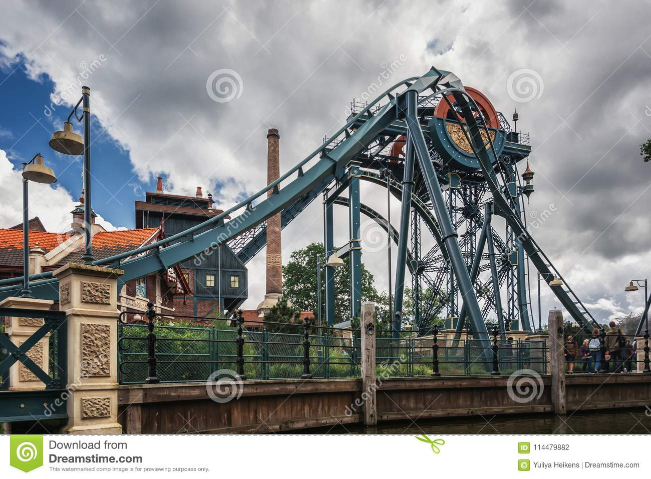 The dive coaster The Baron at the amusement park Efteling in the